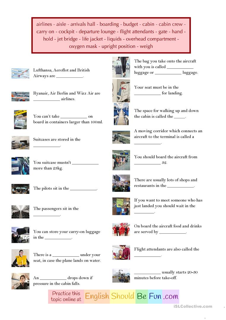 Air Travel - Vocabulary - English ESL Worksheets for ...