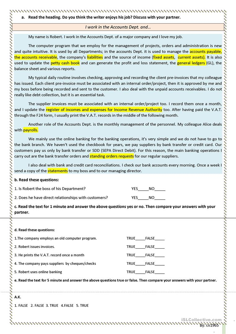 Basic accounting vocabulary, language through text, guided ...