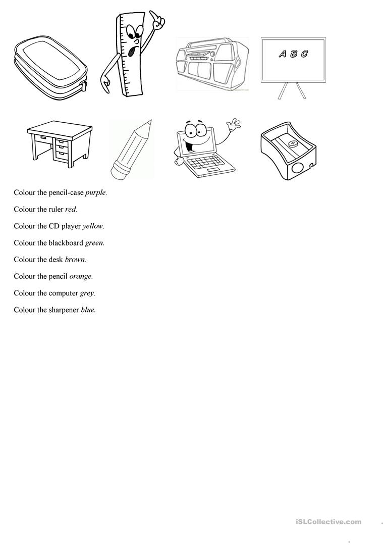 Colour school things (Year 2) - English ESL Worksheets