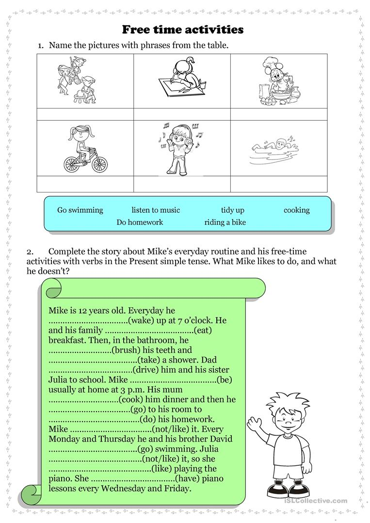 Free time activities + Present simple - English ESL Worksheets