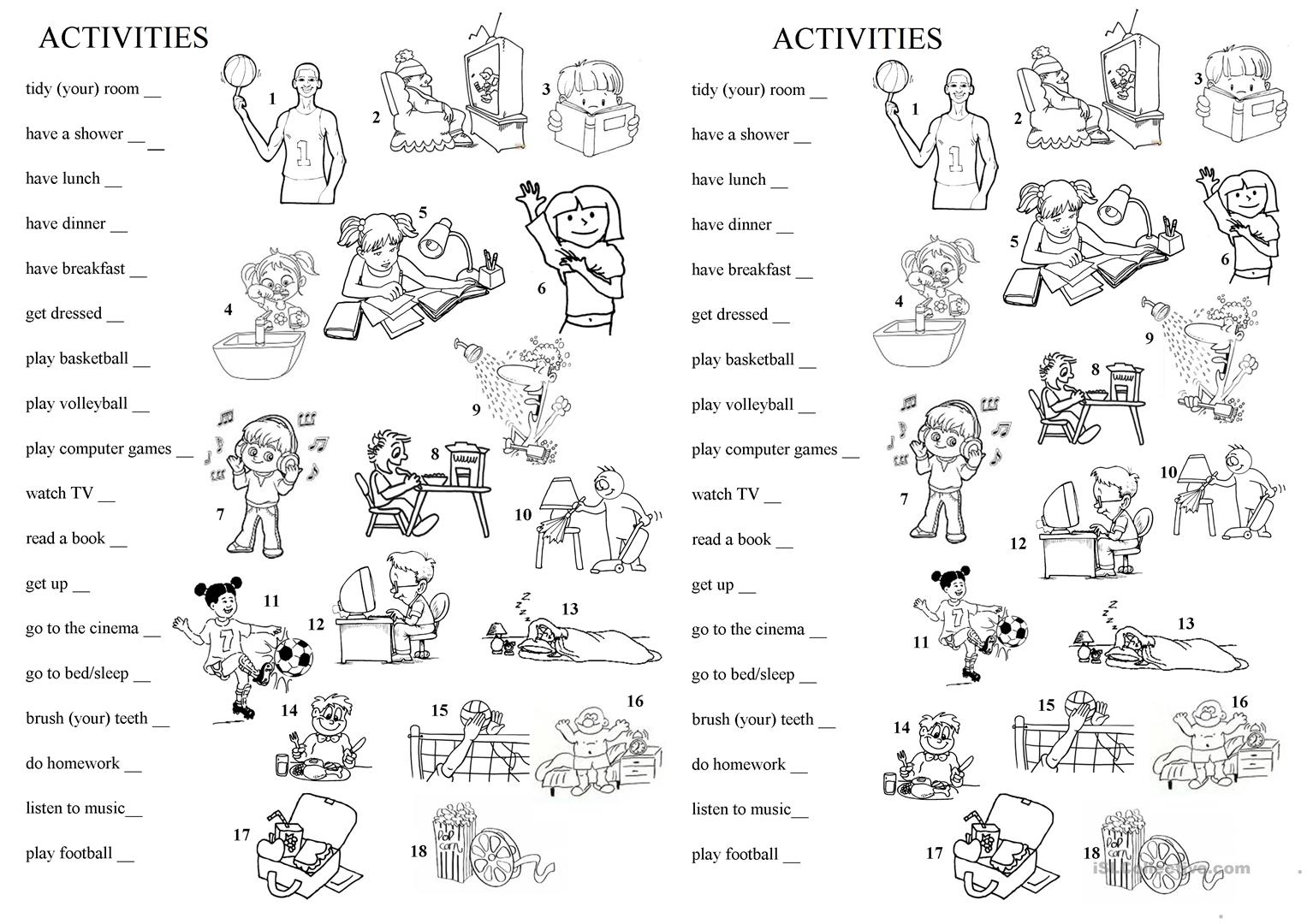 free time and every day activities english esl worksheets. Black Bedroom Furniture Sets. Home Design Ideas