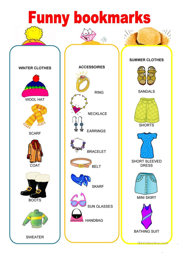 87335a6949d Funny bookmarks - Winter and summer clothes worksheet - Free ESL ...