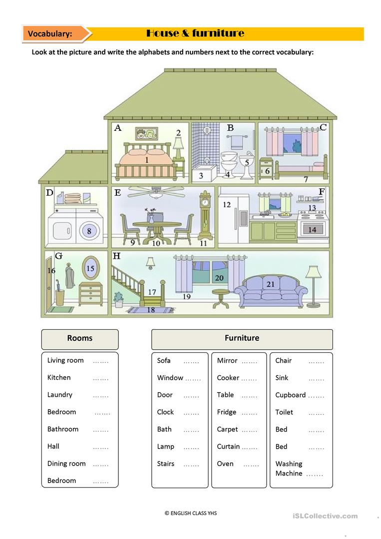 House vocabulary - English ESL Worksheets for distance ...