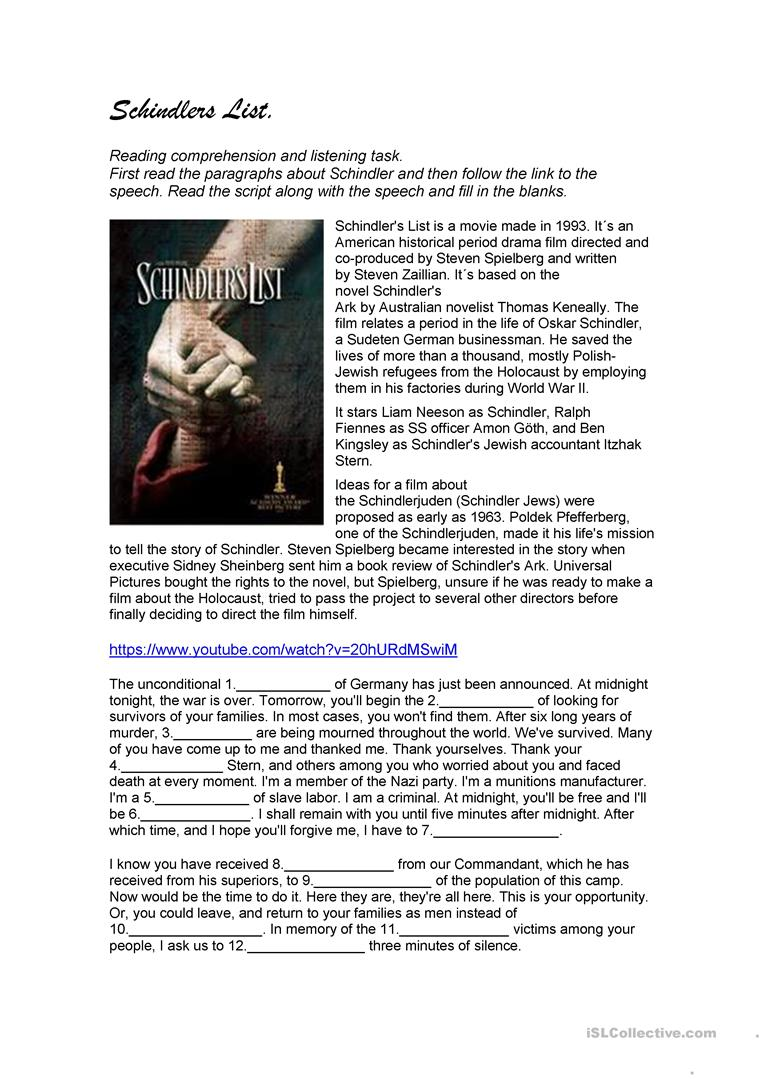 historical themes schindlers list essay Schindler's list question essay  this film portrays many themes, all of which are evoked due to the factual historical event of the jewish holocaust which.