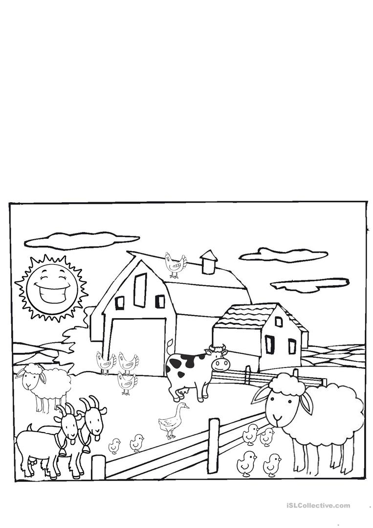 the farm animals kindergarten english esl worksheets