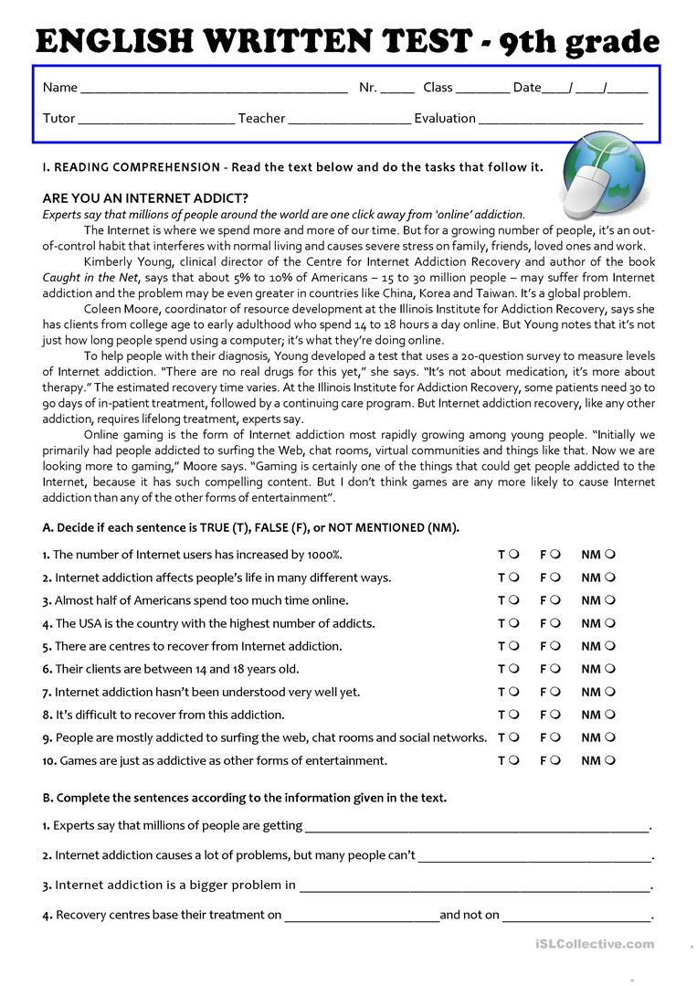 - The Internet (Test 9th Grade - A2/B1) - English ESL Worksheets For