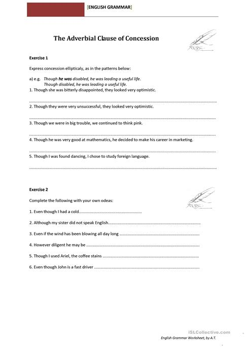 The Adverbial Clause Of Concession Worksheet Free Esl Printable