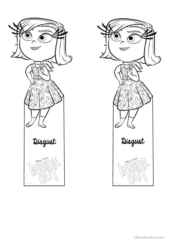 Bookmark template INSIDE OUT feelings and emotions