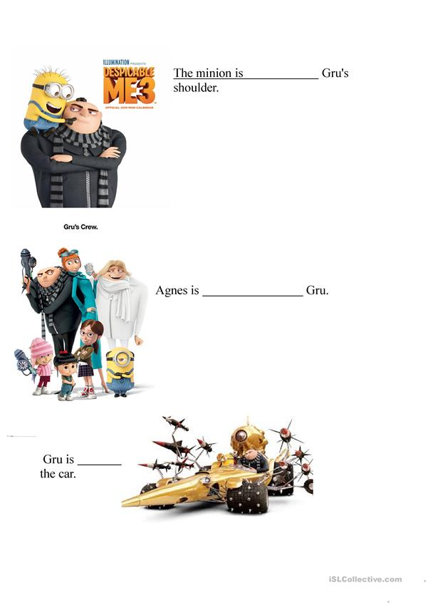Despicable me 3 prepositions of place