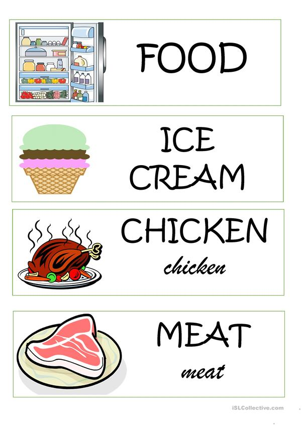 Food Word Wall Cards