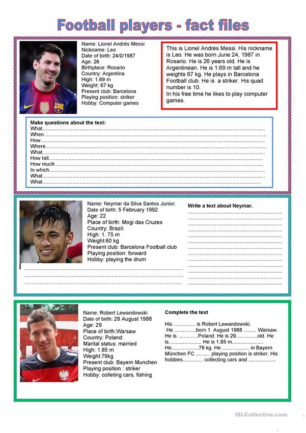 Football players - fact file