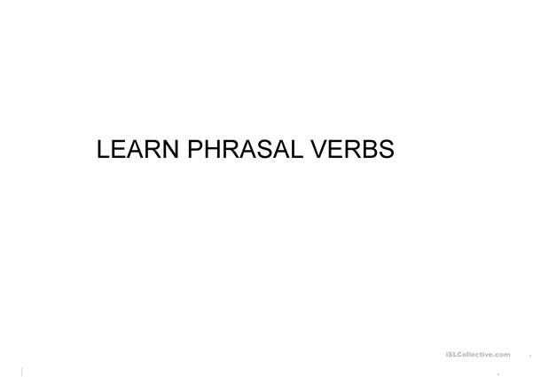 Learn Phrasal Verbs with images and meanings. 1 SM
