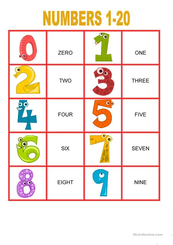 Memory Games - Numbers from 1-20