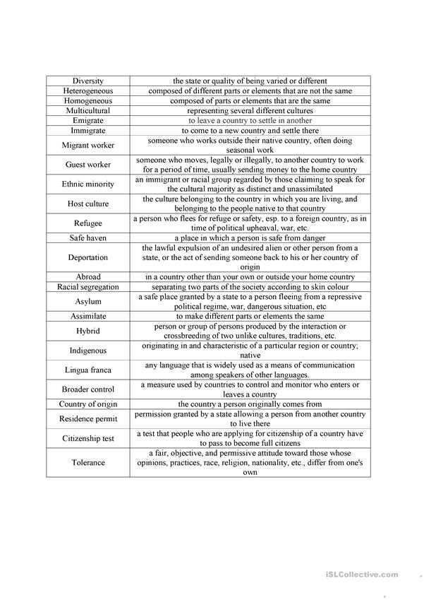 multiculturalism vocabulary worksheet