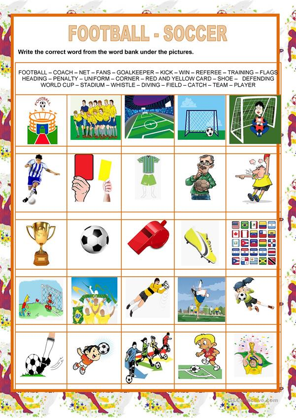Picture dictionary - football- soccer