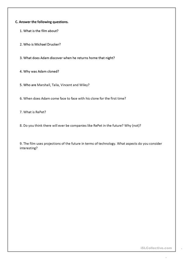 The 6th Day Movie Questions Worksheet