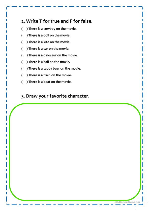 Toy Story movie - worksheet