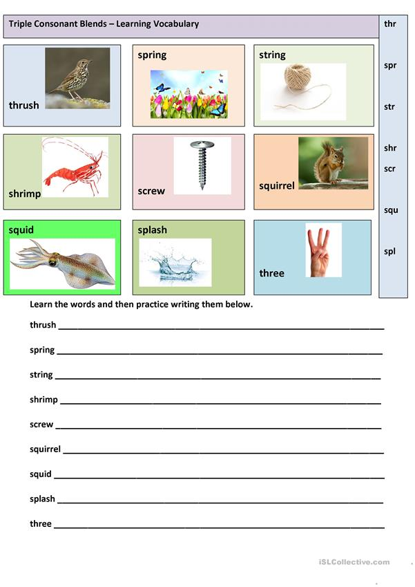 Triple Consonant Blends - Learning vocabulary