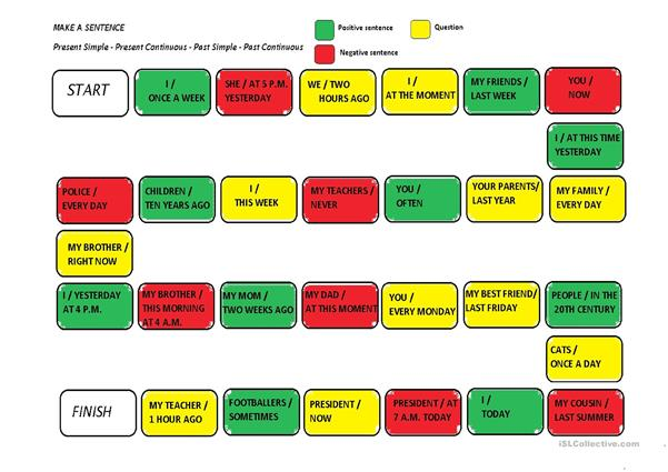 Verb tense revision board game