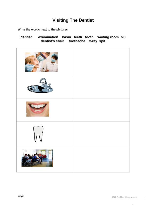Visiting the dentist vocabuary