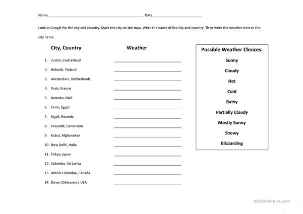 Weather Search & Map Identification