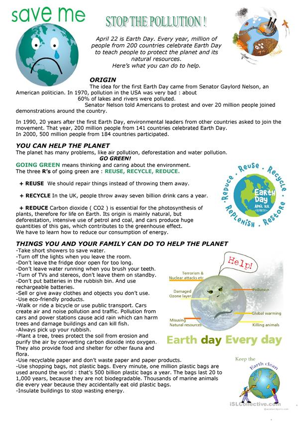 Earth Day : Stop the pollution - English ESL Worksheets
