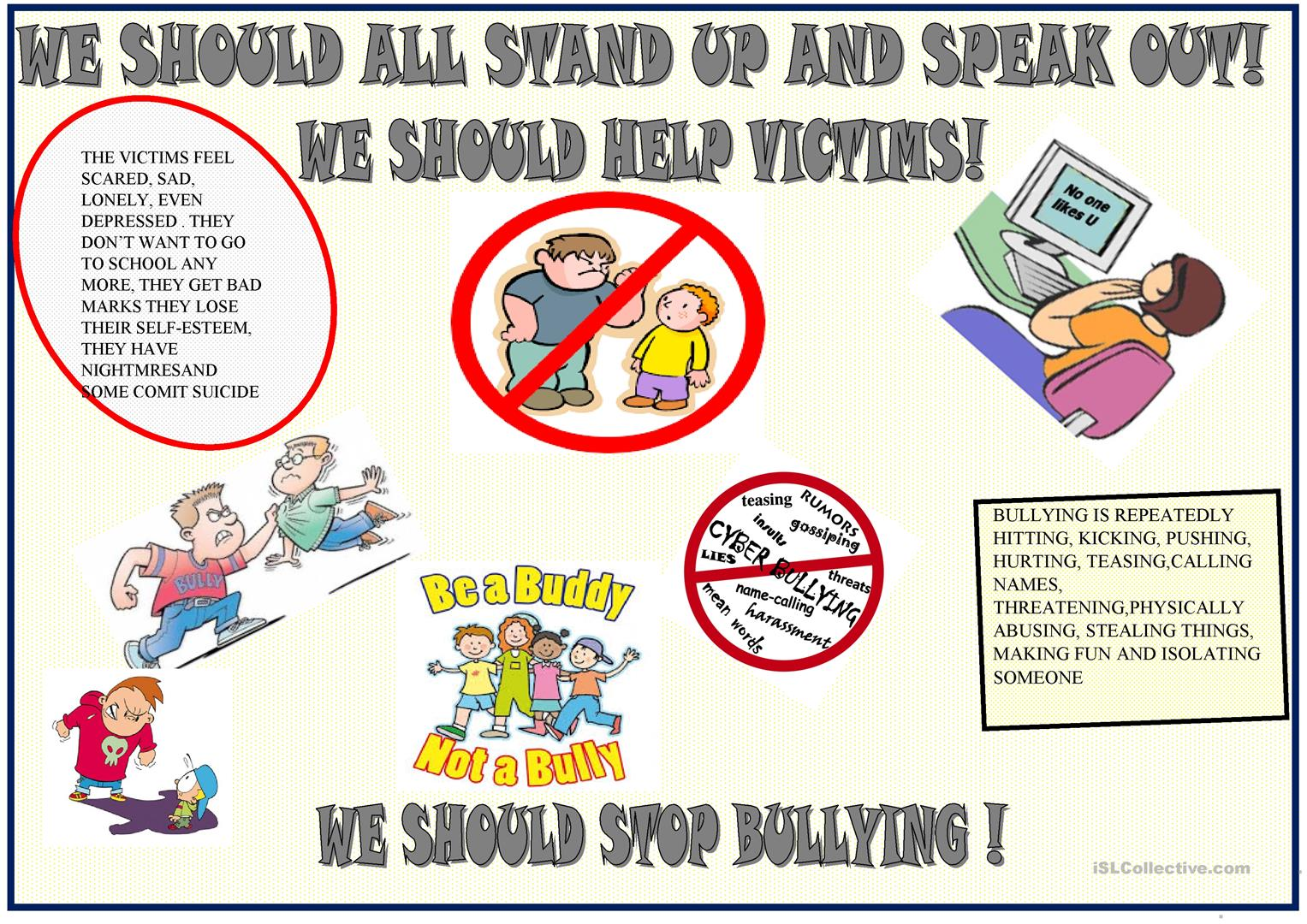 Anti bullying poster to be used as a model for final task ...