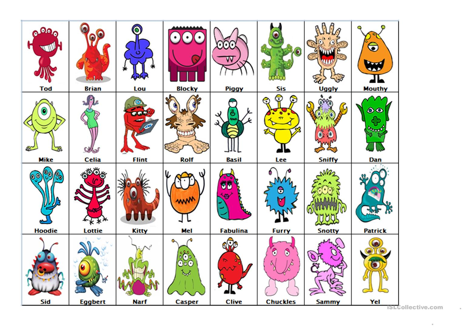 image about Guess Who Printable titled Wager who - Monsters - English ESL Worksheets