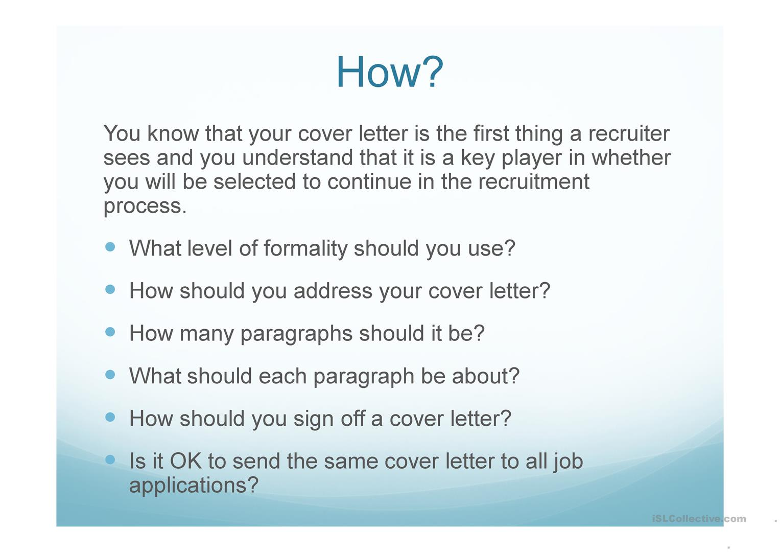 How To Write A Cover Letter English Esl Powerpoints For Distance Learning And Physical Classrooms