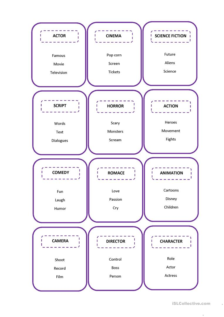 image regarding Taboo Game Cards Printable identify Taboo playing cards - motion pictures - English ESL Worksheets