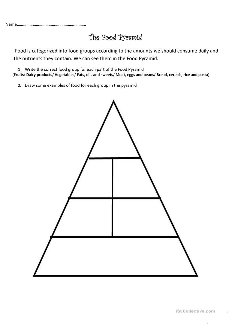 The Food Pyramid and Nutrients - English ESL Worksheets
