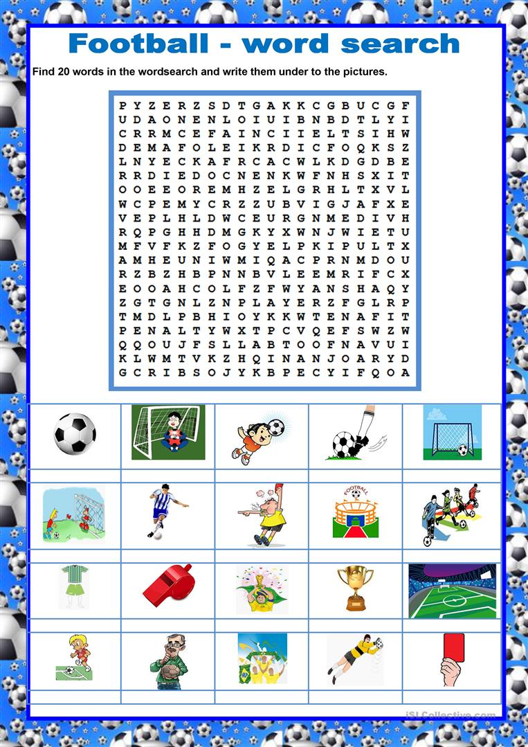 graphic regarding Football Word Search Printable called Wordsearch - Soccer/Football - English ESL Worksheets
