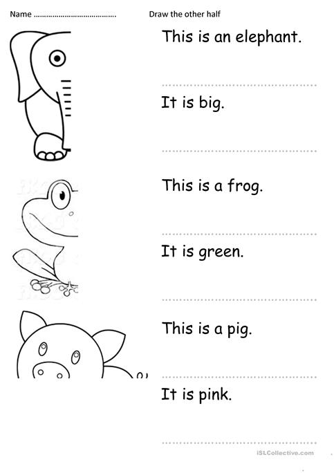 draw the other half and write worksheet - Free ESL printable ...