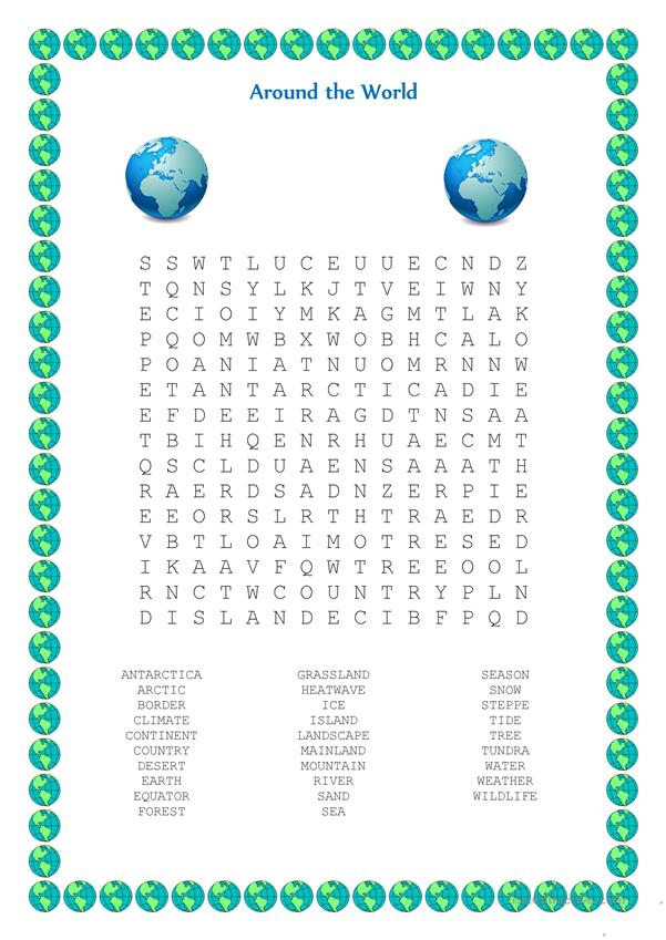 Around The World Wordsearch