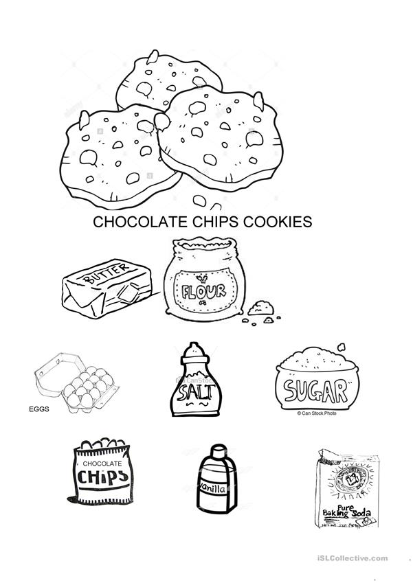 Cookies Ingredients vocabulary coloring