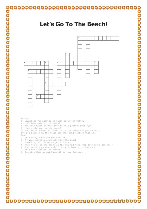 Let´s Go To The Beach - Crossword