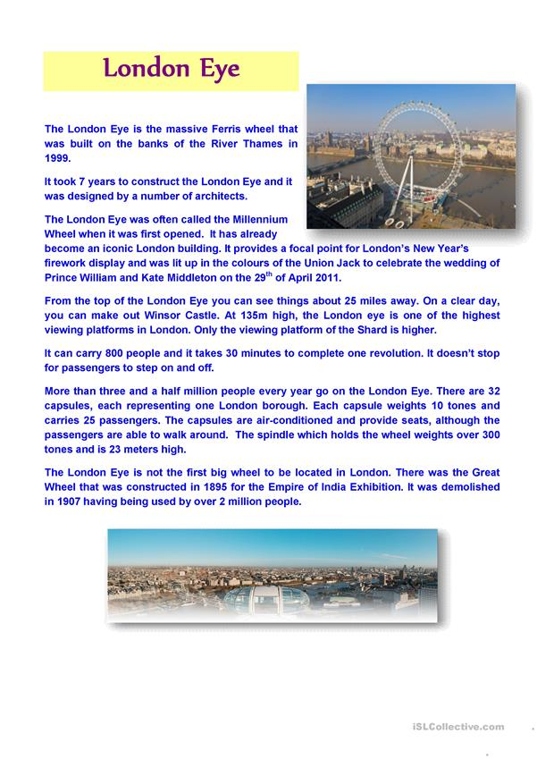 LONDON EYE (Text and Questions)
