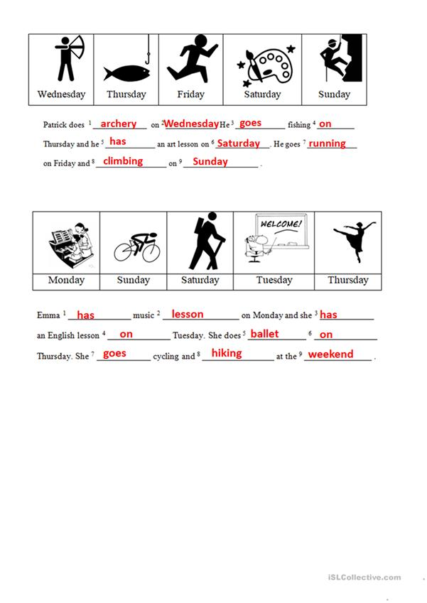 My hobby - activities and days of the week (English Adventure III) - answer key