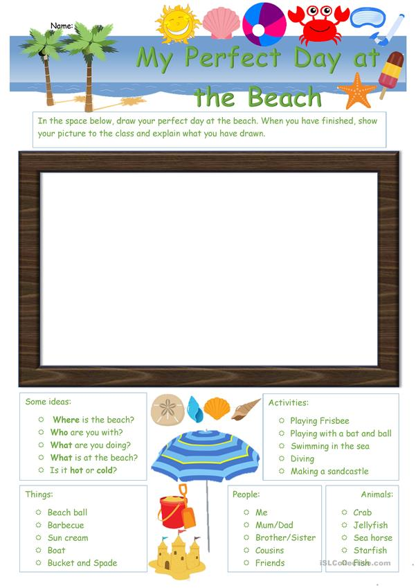 My Perfect Day at the Beach worksheet
