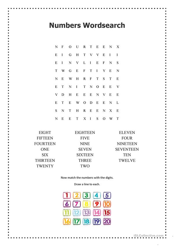 Numbers 1-20 Wordsearch