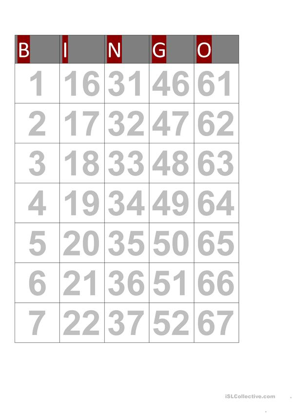 NUMBERS BINGO FUN