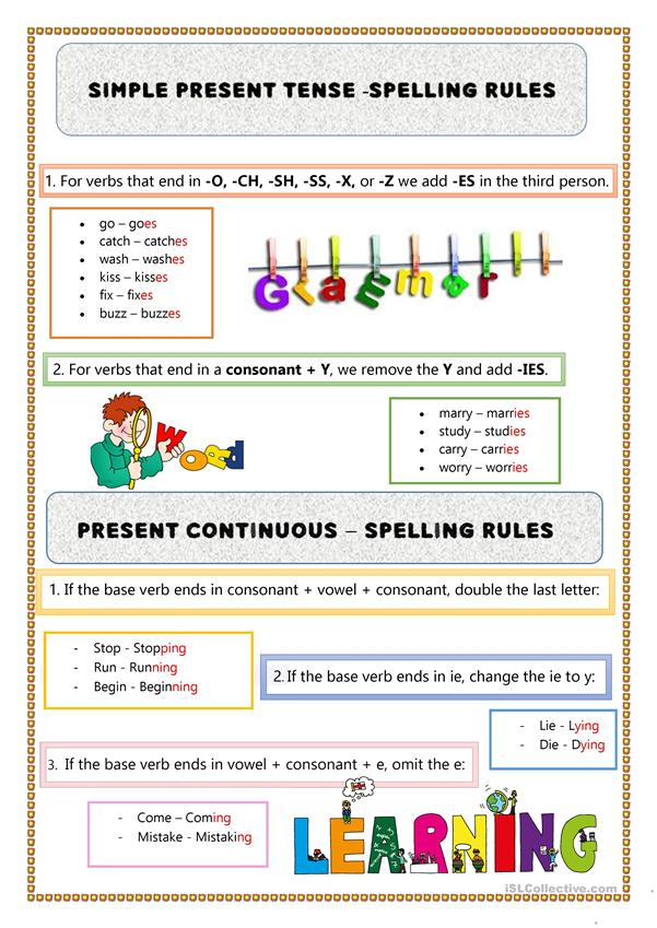 Present Simple - Continuous - Spelling Rules