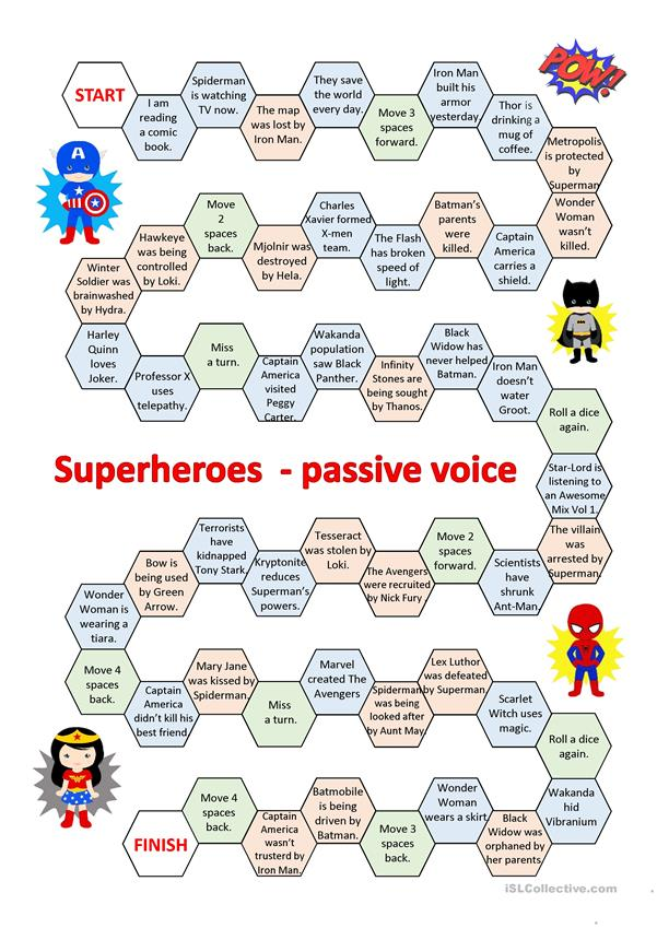 Superheroes - passive voice game