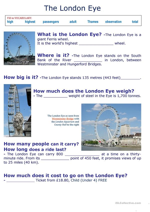 The London Eye- Fill in VOCABULARY