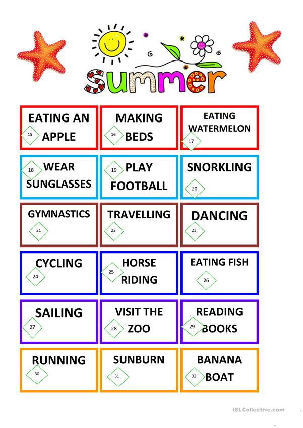 VOCABULARY FOR SUMMER