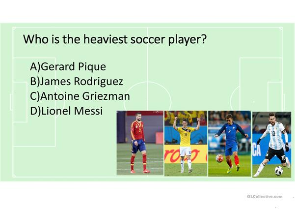 Comparatives, superlatives and physical apperance  using World Cup