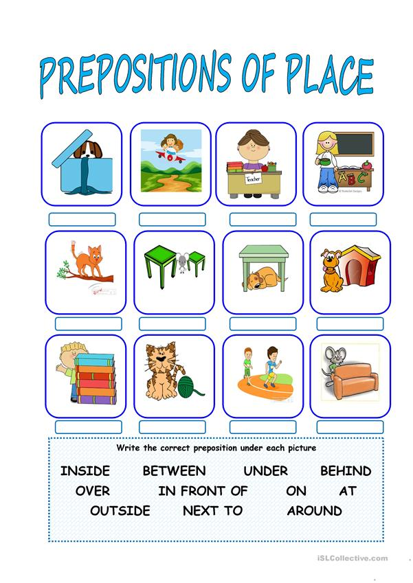 Preposition In Learn In Marathi All Complate: PREPOSITIONS OF PLACE Worksheet
