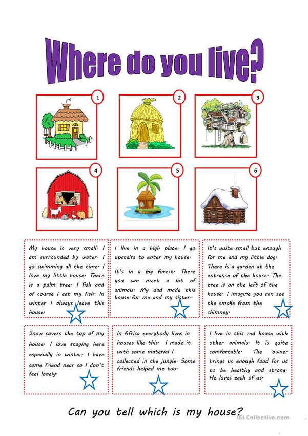 WHERE DO YOU LIVE? worksheet - Free ESL printable worksheets made by