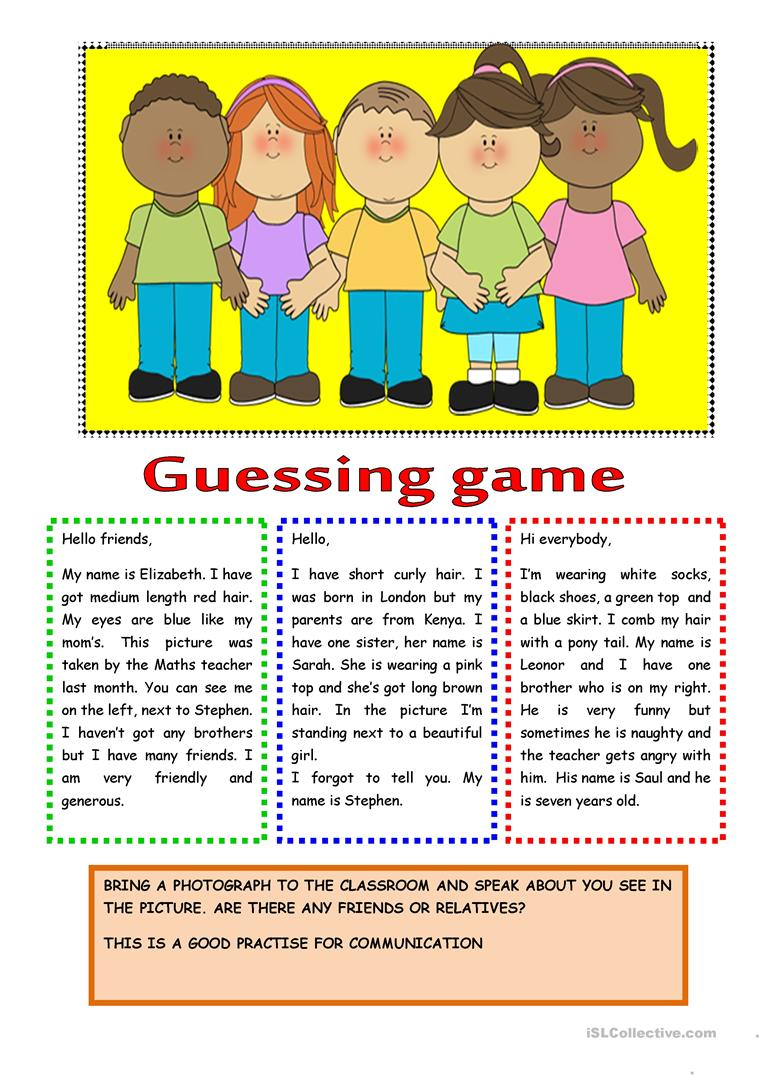 Guessing Game PPT - English ESL Powerpoints for distance learning ... | 1079x763