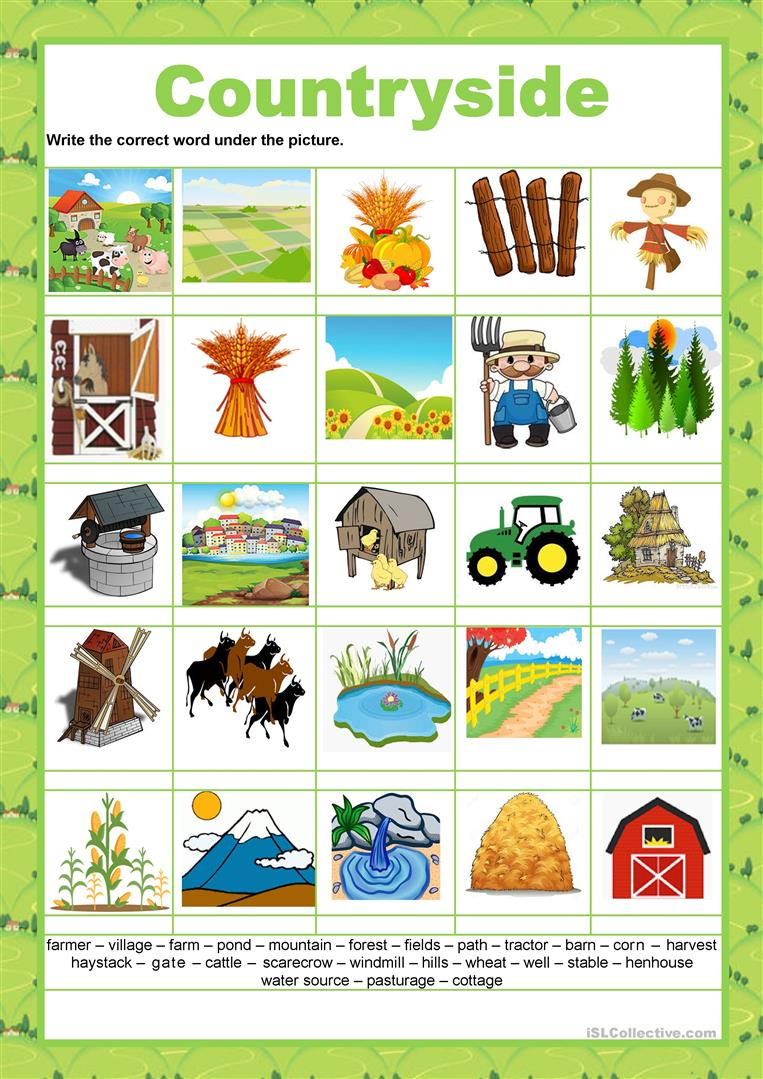 Picture dictionary - Countryside - English ESL Worksheets for ...